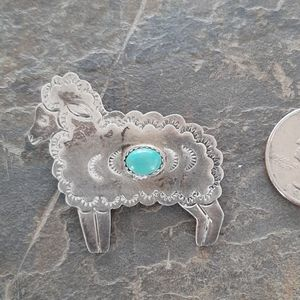 Vintage sterling sheep pin brooch